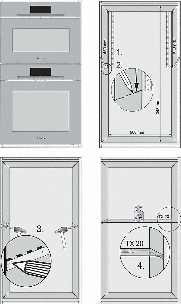 -za optimalni razmak između Miele ugradbenih uređaja.-20000141282